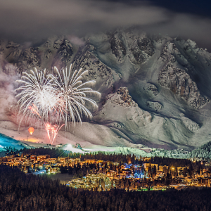 Fireworks on snow